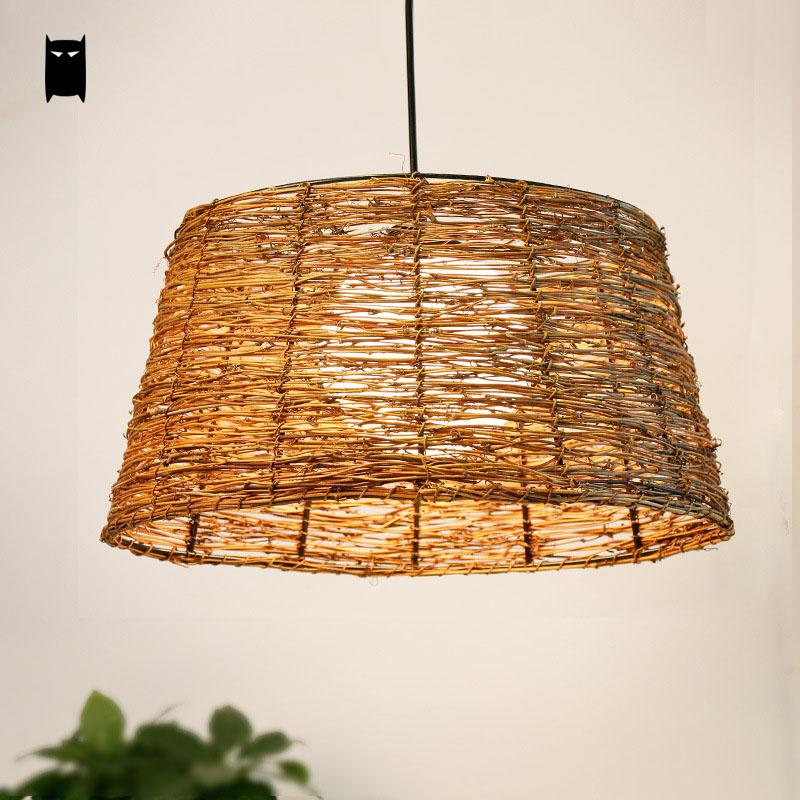 Wicker Rattan Glass Bucket Shade Pendant Light Fixture Rustic Vintage Retro Asian Hanging Lamp Luminaire Restaurant Dining Room