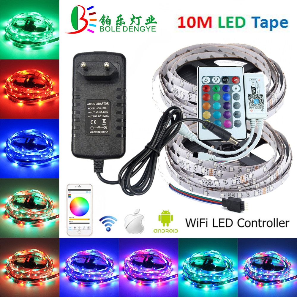 12V LED Strip SMD 2835 Flexible Diode Tape Waterproof RGB Ribbon Multicolor LED Rope Light+WiFi RGB Controller+12V Power Adapter