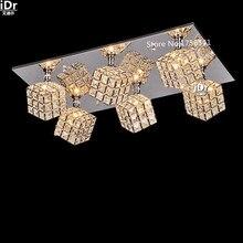 Творческая личность Прямоугольная гостиная лампы СВЕТОДИОДНОЕ освещение спальня Кристалл Роскошь Свет лампы Потолочные Светильники