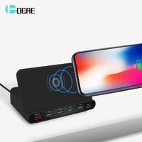 DCAE 10W Qi Wiressless Fast Charger Quick Charge 3.0 QC Type C PD Multi USB Desktop Charger Power Adapter HUB Charging Station