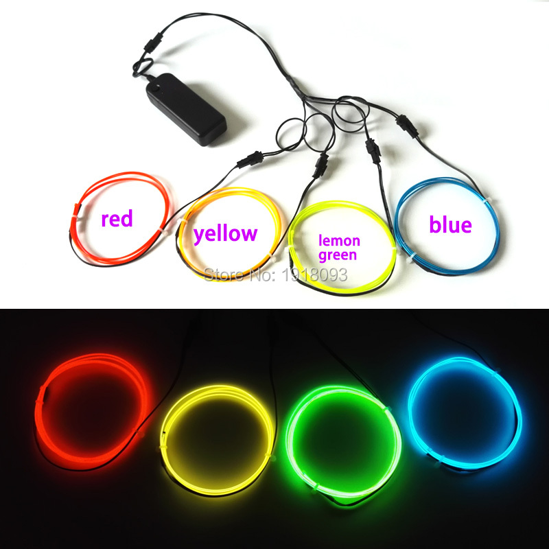 2017 Hot 1.3mm 1 Metro 4 piezas EL alambre de alambre electroluminiscente light-up Toys LED tira flexible luz fría para la decoración de ropa