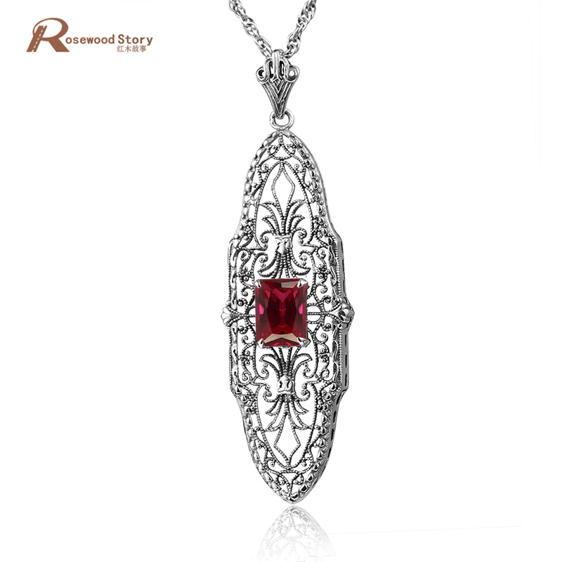 New Classic 925 Sterling Silver Crystal Pendant Necklace For Women Wedding Jewelry Red CZ Stone Pendants Jewelry Making