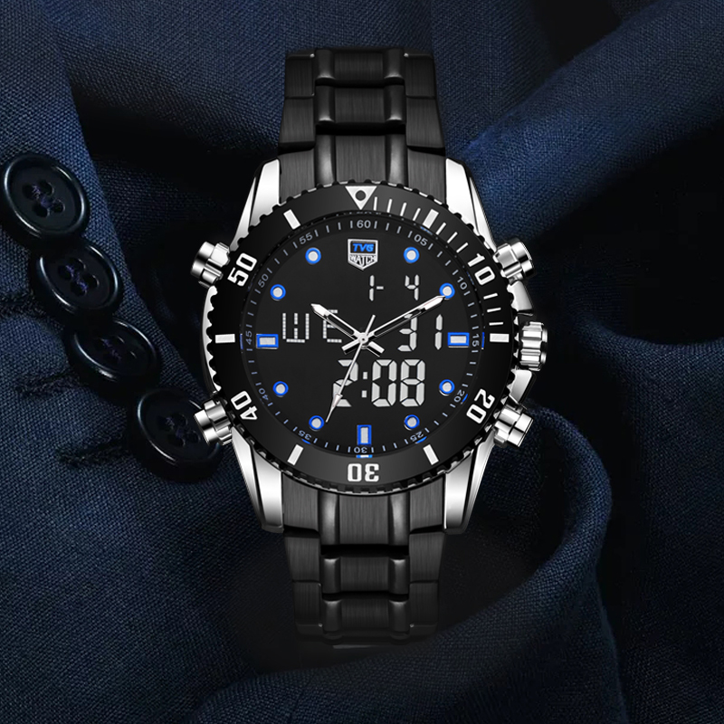 2018 Fashion Watch Men Watches Top Brand TVG Dual Display Quartz Stainless Steel 100M Waterproof Dive