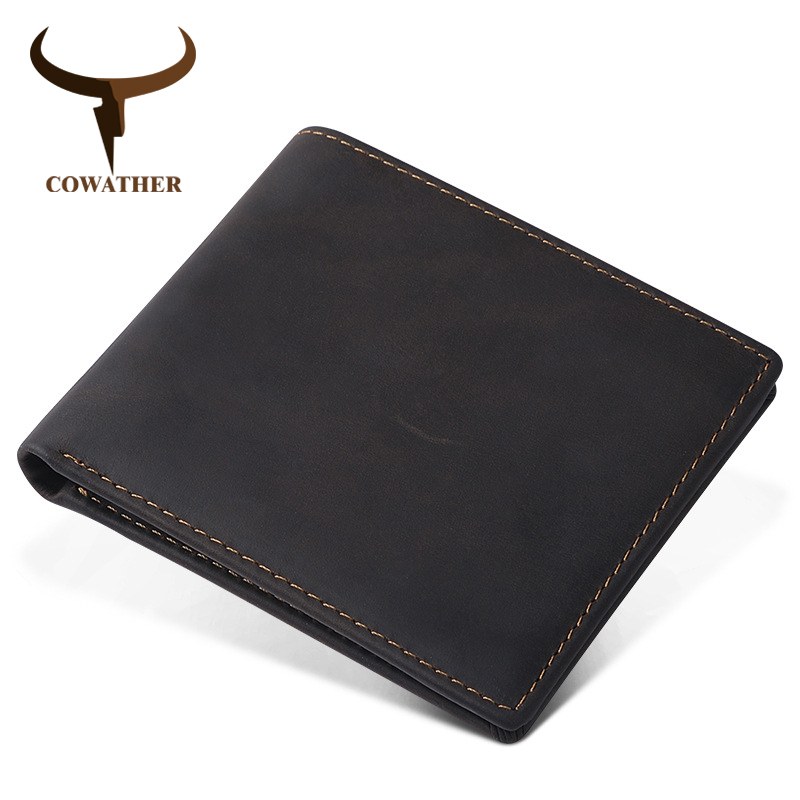 COWATHER 2019 High Quality Leather Short Wallets For Men Top Cow Genuine Leather Casual Men Wallet 5 Color Q2016 Free Shipping