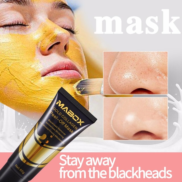 Woman's Fashion Facial Face Mask 24K Gold Collagen Peel Off Black Mask Peeling Acne Treatment Black Deep Cleansing Skin Care 1