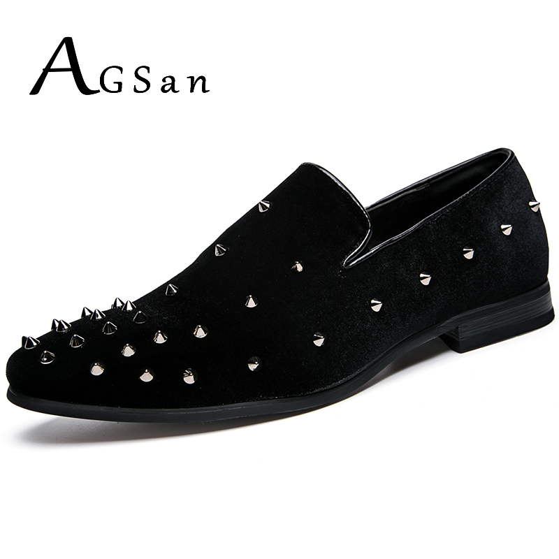 AGSan Autumn Italian Handmade Men Loafers Rivets Spiked Casual Shoes Male Red Bottom Dress Shoes Slip On Black Smoking Slippers handmade mens dress shoes italian leather studded flats loafer shoes men casual shoes fashion spiked loafer 35 46