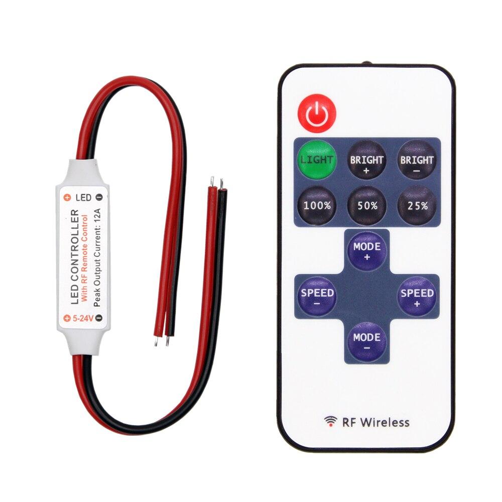 Controlador de tira LED mini regulador de intensidad RF remoto DC 5V 12V 24V controlador para LED 5050 2835 tira de un solo Color
