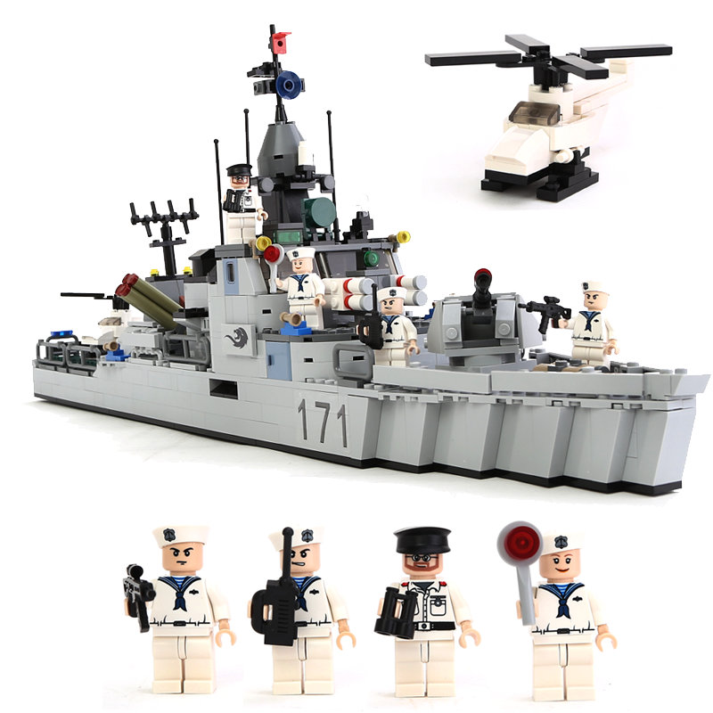 GUDI Military Educational Building Blocks Toy For Children Gifts Army Destroyer Helicopter Soldier Weapon Compatible Legoe