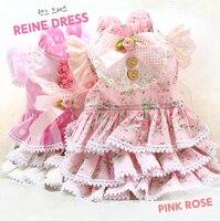 Free Shipping Top Grade Dot Garden Little Flower Doll 100 Cotton Cake Skirt Dog Dress Tutu