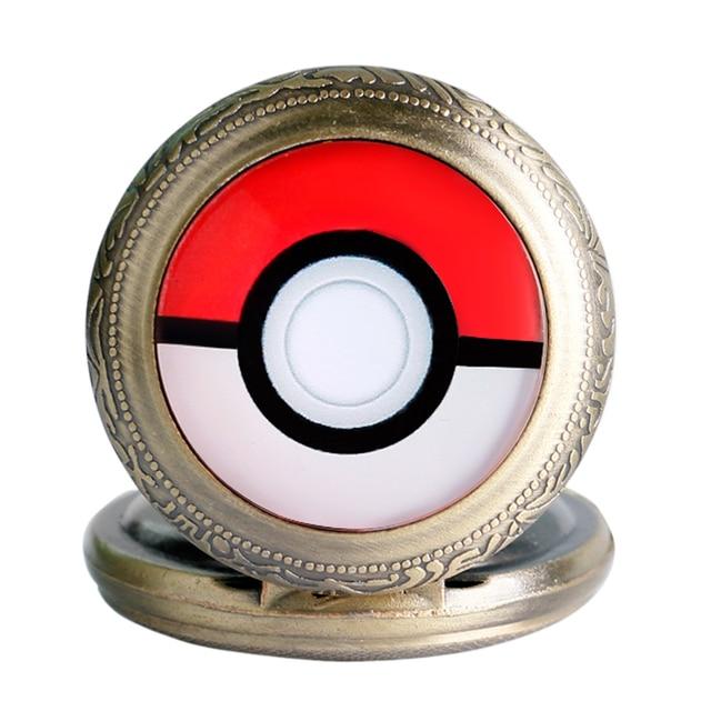 Classical Pokemon Go Game Theme Quartz Pocket Watch With Chain Pendant Gift For Men Women
