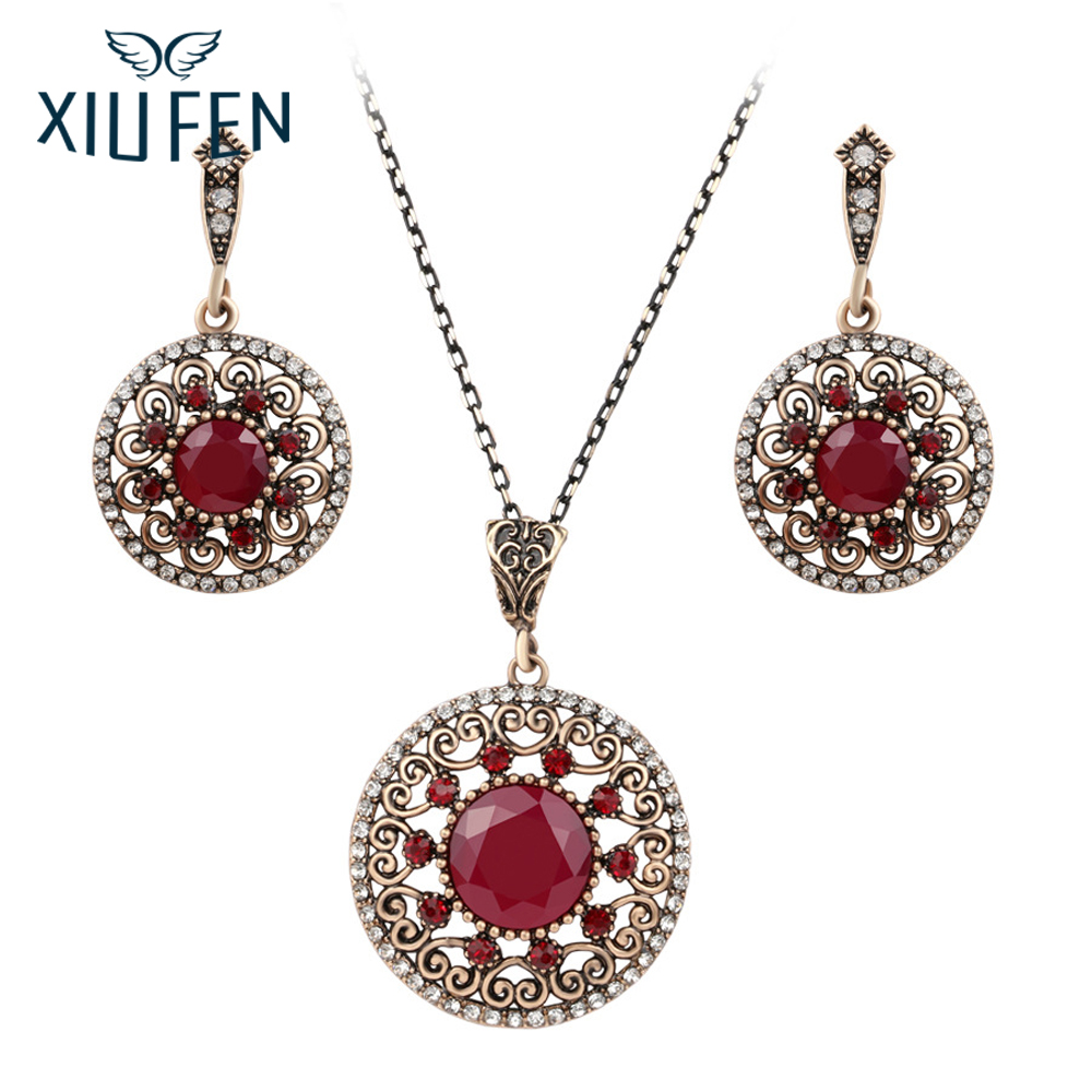 XIUFEN Bridal Fashion Jewelery Set Bohemian Hollowing Resin Rhinestone Necklace Earrings Two-piece Set Accessories 2017