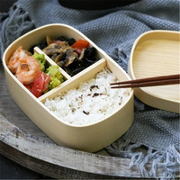 KINGLANG White pine wooden lunch box divided wood student portable sushi box lunch box