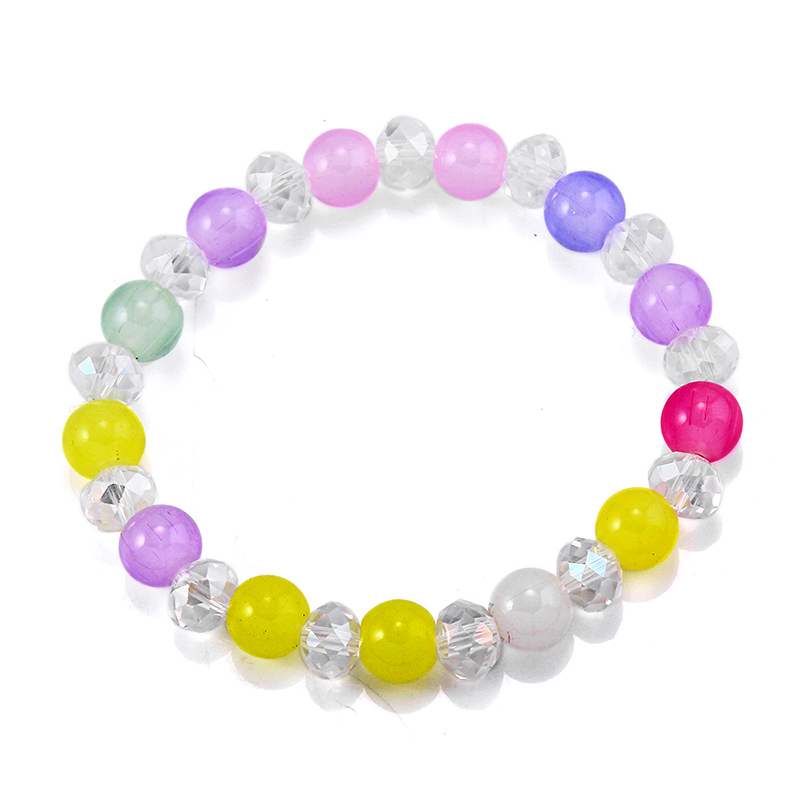 Trendy Famale 5 8mm Clear Colorful Glass Beads Bracelets For Women Girl Office Lady Fashion Elastic Beaded Bangle Hand Strings