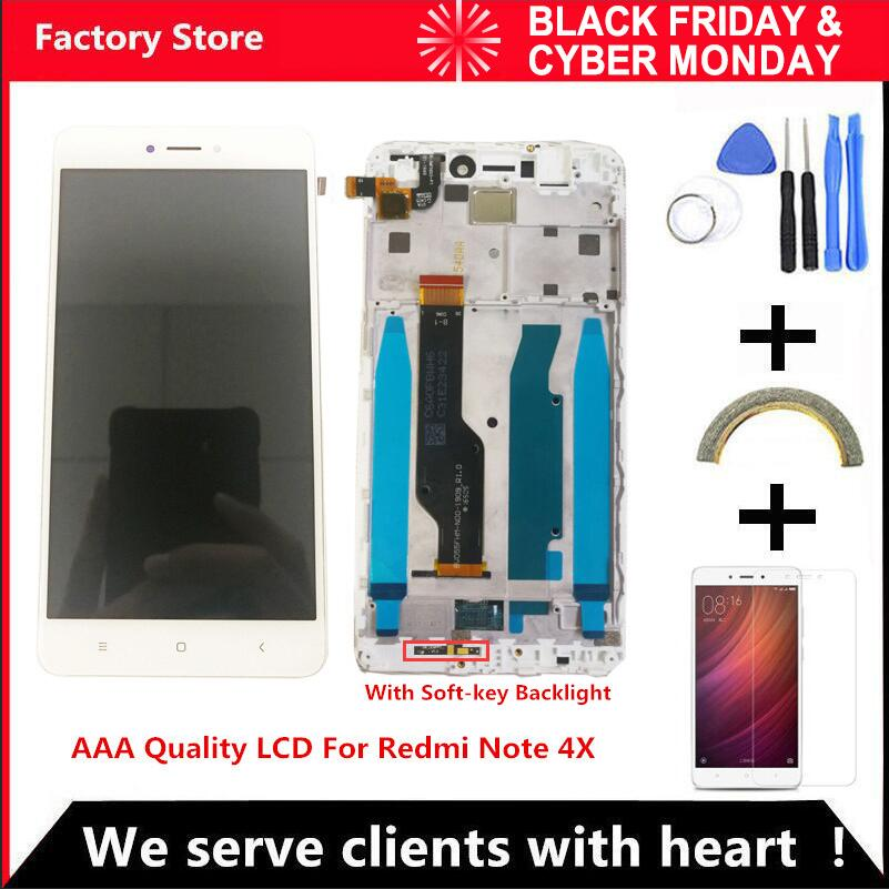 QYINTLCRACYGYP AAA Quality LCD Frame For Xiaomi Redmi Note 4X LCD Display Screen