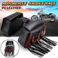 2x Universal PU Leather Motorbike saddlebags Motorcycle Side Tool Tail Bag Storage Luggage Saddle Bags