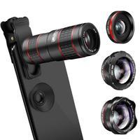 Phone Camera Lens,5 in 1 Cell Phone Lens Kit 12X Zoom Telephoto Lens + Fisheye Lens + Super Wide Angle Lens+ Macro Lens