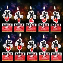 1 шт. Горячая свеча на день рождения с героями мультфильмов Микки и Минни Маус Свеча для торта с цифрами От 0 до 9 лет Свеча для украшения торта на день рождения