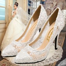 2015 single shoes white high-heeled shoes thin heels pointed toe shoes lace wedding shoes dwarf with elegant shallow mouth party