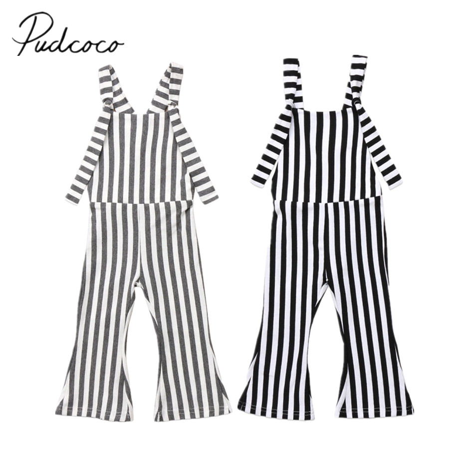 2019 Brand New Toddler Infant Child Kids Baby Girls Stripes Overalls Brace Pants   Romper   Bell Bottoms Sleeveless Outfits 6M-5T