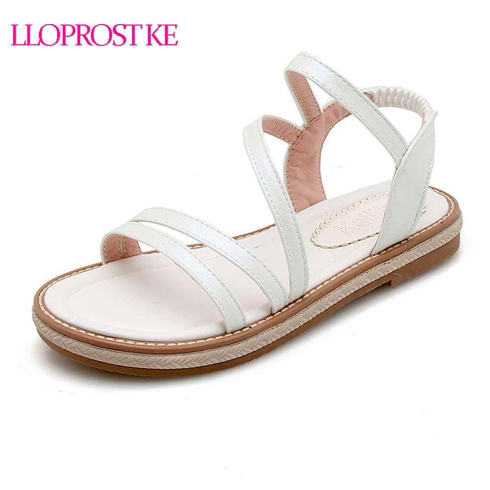 LLOPROST KE New Summer Women Flat Sandals Shoes Peep Toe Comfortable Sandals Female Casual Shoes Size 34-43 Flat Shoes MY335 discount 2018 fashion leather casual flat shoes women sandals summer shoes flat hollow comfortable breathable size 34 44