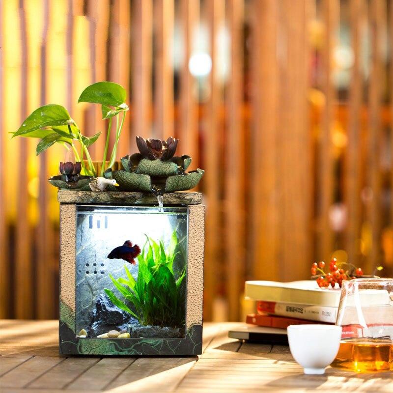 Betta aquarium mini fontaine eau petit bureau créatif verre à eau bureau écologique ornemental petit aquarium