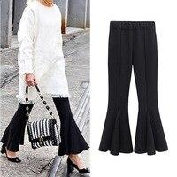Womens Autumn Flare High Waist Wide Leg Pants England Style Women Loose Plus Fertilizer XL Horn Pants