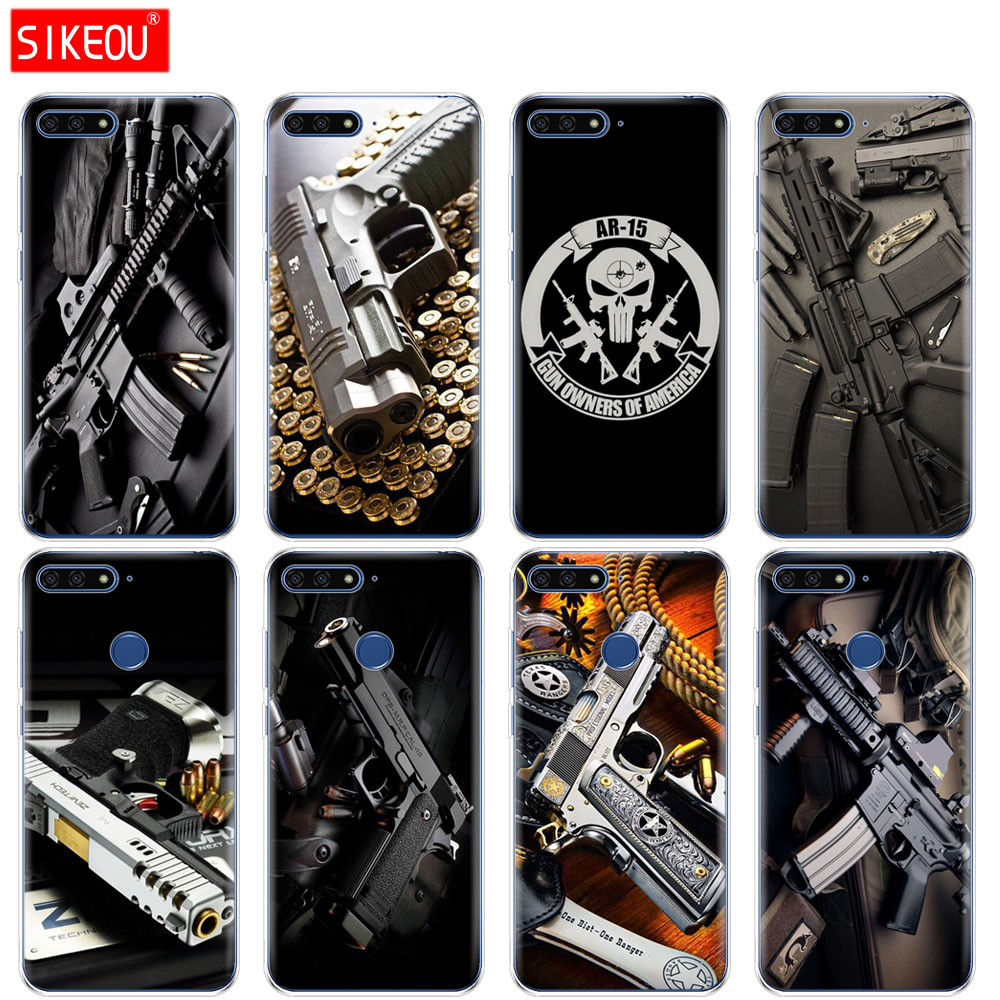 Methodical Silicone Cover Phone Case For Huawei Honor 7a Pro 7c Y5 Y6 Y7 Y9 2017 2018 Prime Weapons Rifle Guns Sniper Pistol Bullet Fast Color Phone Bags & Cases Cellphones & Telecommunications