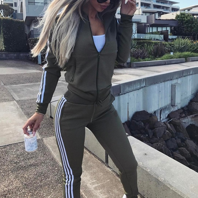 N 2019 Two Piece Set Side Striped Women's Tracksuits Zipper Tops and Pants Casual Womens Sporting Suit Outfits Tailleur Femme