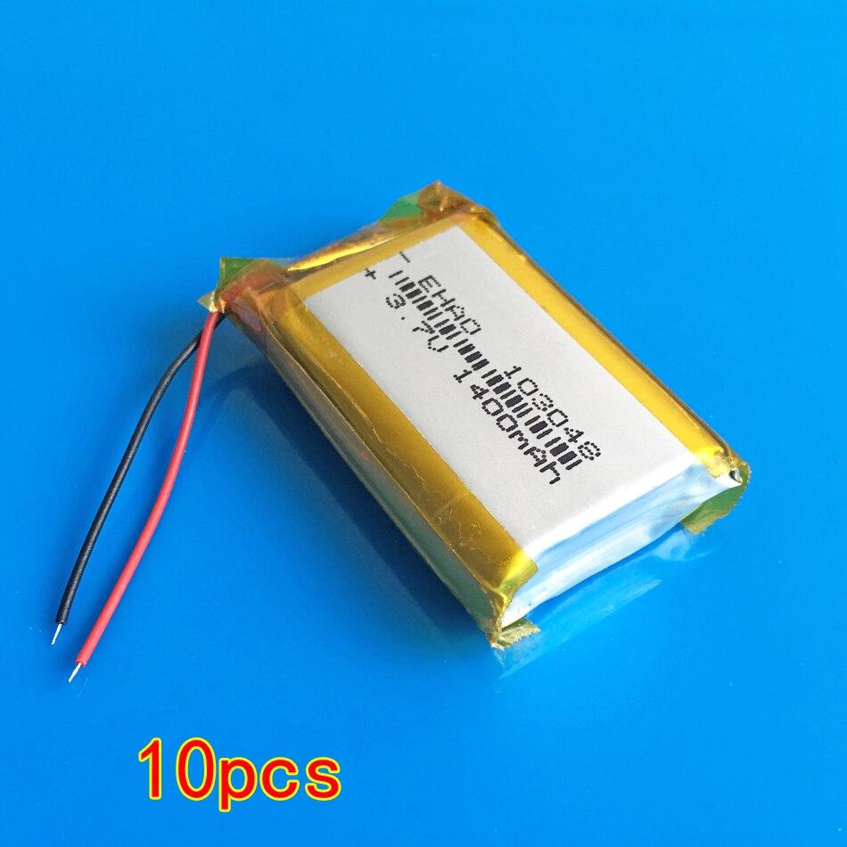 10 шт. 3,7 в 1400 мАч литий полимерный Li po аккумулятор для bluetooth gps проводной микрофон клавиатура динамик камера 103048
