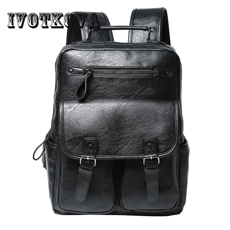 IVOTKOVA Famous Brand Preppy Style Leather School Backpack Bag For College Simple Design Men Casual Daypacks mochila male New