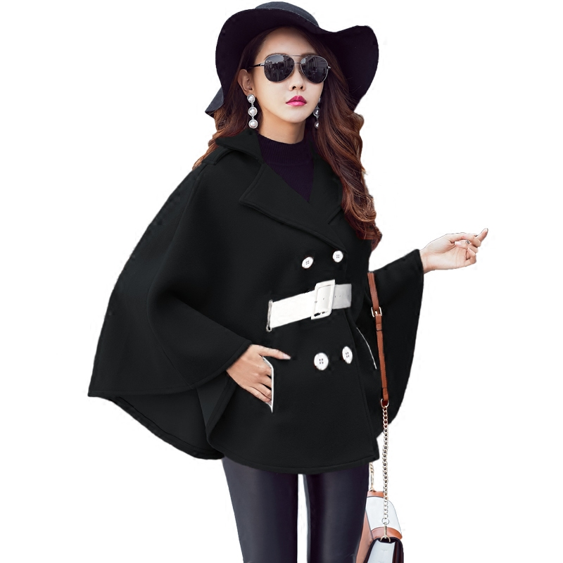 Korean fashion thickening cape coat women new winter long sleeve batwing woolen cloth coat outside clothes overcoat lady top