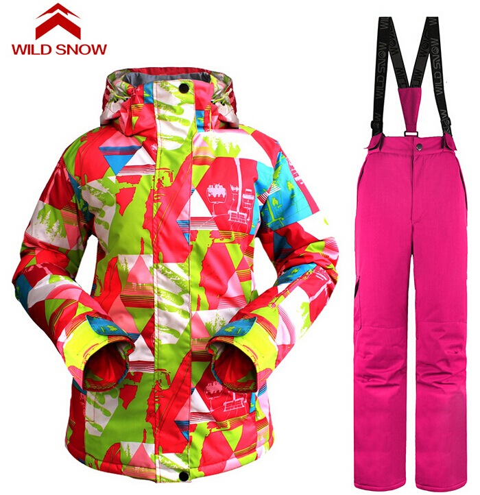 Wild Snow Women's Winter Sports Skiing Suit Waterproof Jackets Pants Snowboard Ski Clothing Set Sportswear 2016 winter boys ski suit set children s snowsuit for baby girl snow overalls ntural fur down jackets trousers clothing sets