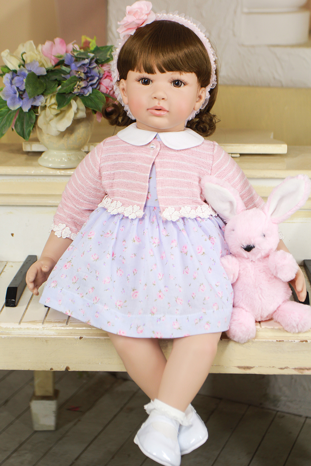 Short Curly Hair Doll Silicone Reborn Baby Girl Doll Lifelike Toddler Princess Girl Doll Toys for Sale Girls Best Birthday Gifts 52cm shoulder length hair reborn toddler baby girl doll smling princess girl doll in flower dress girls toys birthday xmas gifts