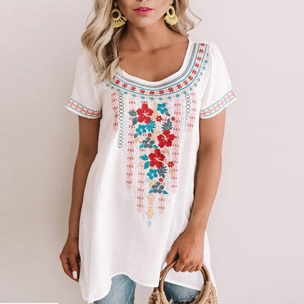 2019 Women Vintage Floral Printed   Blouse   Spring short Sleeve Patchwork   Blouse     Shirt   Casual Cotton Linen Top Tunic Blusa