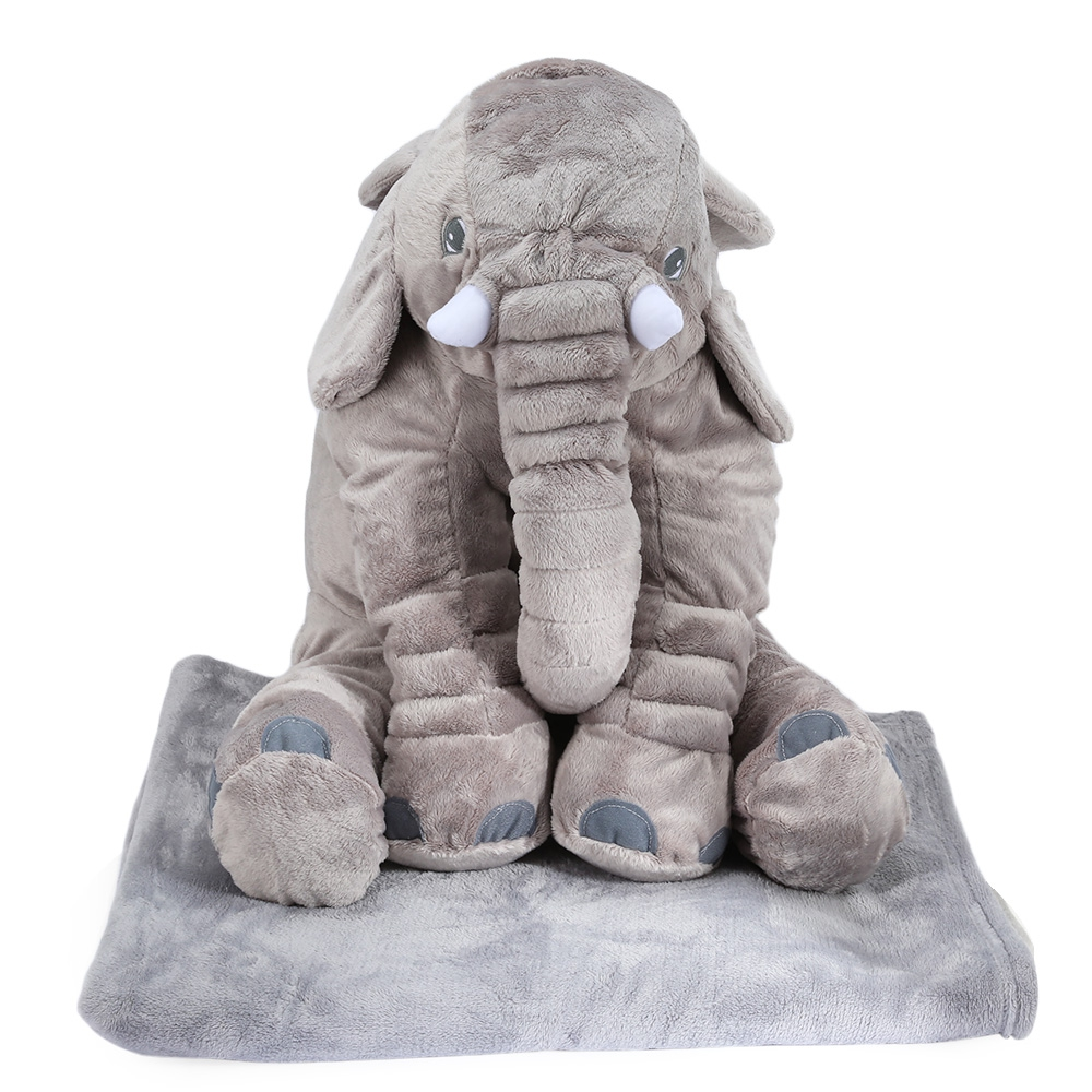New arrival Soft PP Cotton Stuffed Cute Simulation Giant Elephant Pillow Plush Doll Toy with Blanket Birthday Christmas Gift nooer new arrival 40cm small soft elephant plush toy stuffed elephant pillow doll birthday kids children gift wholesale