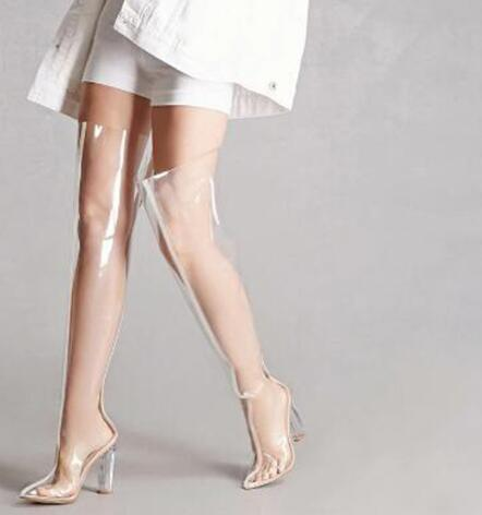 2018 nouvelles femmes clair transparent haut talon sur le genou bottes longues dames bout pointu super haut talon cuissardes botte de mode2018 nouvelles femmes clair transparent haut talon sur le genou bottes longues dames bout pointu super haut talon cuissardes botte de mode