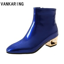 VANKARING brand fashion patent leather ankle boots for women zipper autumn winter mid heels platform shoes rubber botas