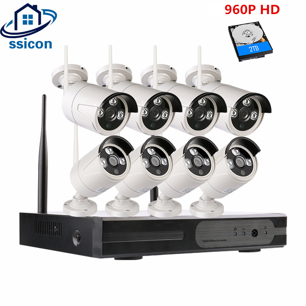 SSICON 960P 8CH Waterproof Bullet WIFI Security Camera System Outdoor 8Channel Plug And Play Wireless Alarm System Security Home