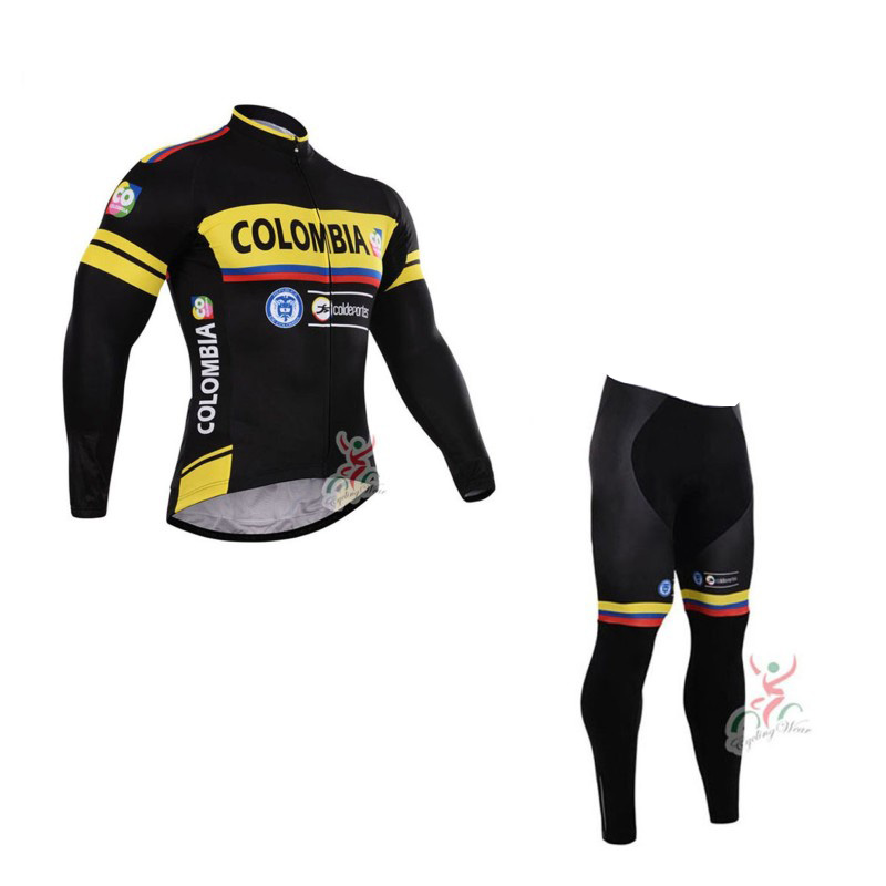 winter fleece pro team colombia mens warmer Cycling jersey breathable bike clothing MTB Ropa Ciclismo Bicycle maillot gel pad