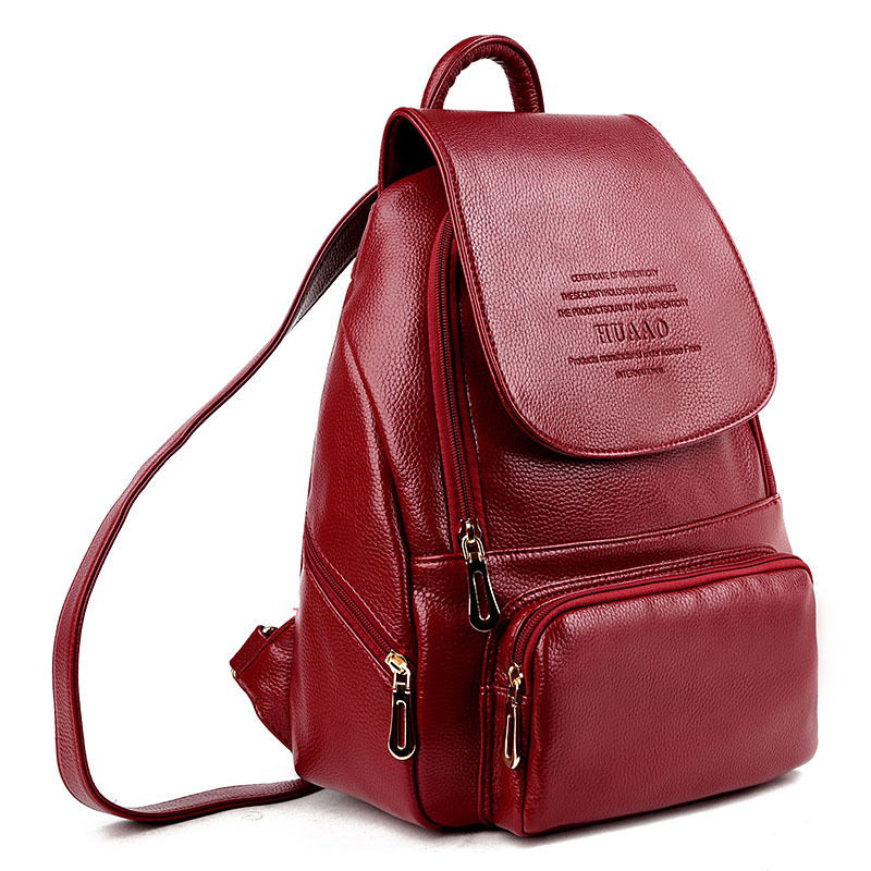 2019 New Luxury Leather Backpack Women Fashionable Female Laptop Backpacks Sac A Dos Ladies School Backpacks Mochilas in Backpacks from Luggage Bags