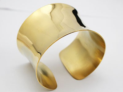 Fine Jewelry Precious Metal Without Stones Symbol Of The Brand Arm Cuff Arm Jewellery Made Of 925 Silver Gold Plated Smooth Shiny Plain Ladies