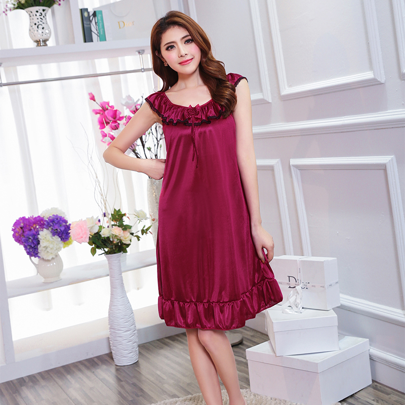 Girl's   Nightgowns   &   Sleepshirts   sleepwear female summer   nightgown   sexy sleepwear   nightgown   silk sleepwear