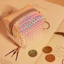 1шт изменение портмоне женщины девушки мода голографический лазерный плед PU кожаный молнии маленький монета мешок мини бумажник карты чехол для ключей