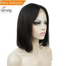 StrongBeaut натуральные черные средние парики шнурка спереди Смесь человеческих волос парики шнурка для черных женщин