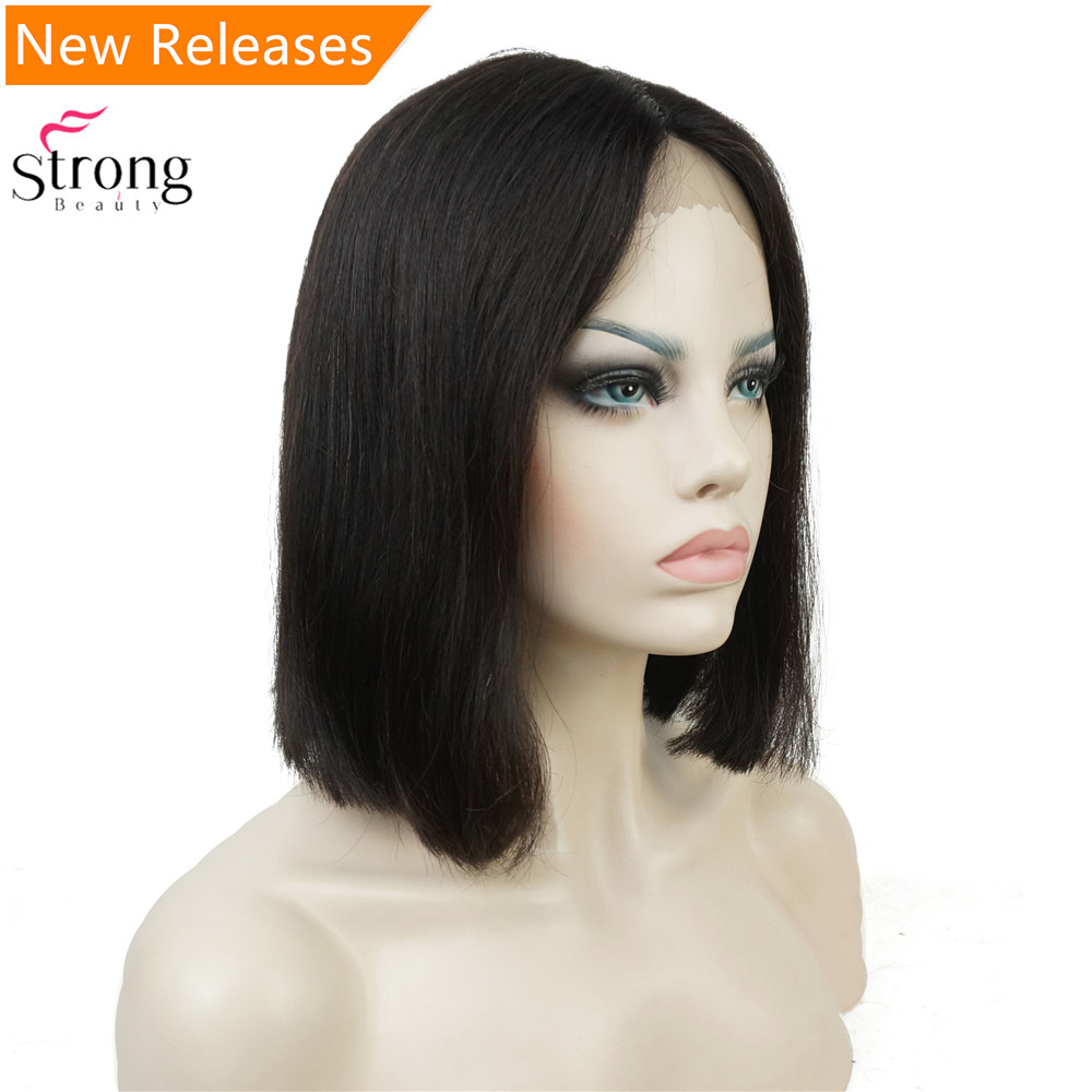 StrongBeaut Natural black Medium Lace Front Wig Blend Human Hair Lace Wigs For Black Women