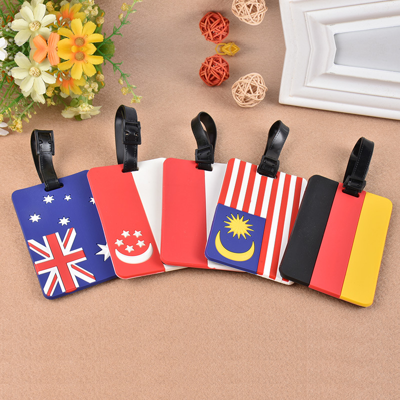 Popular Creative Luggage Tag National Flag Silica Gel Suitcase ID Address Holder Baggage Boarding Tags Label Travel Accessories