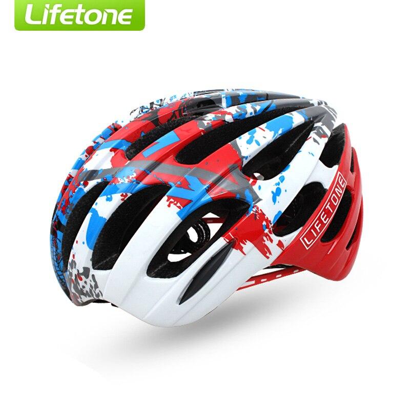 ФОТО LIFETONE Graffiti Colorful Bisiklet Kask 18 Air Vent Breathable Ultralight MTB Road Cycling Helmet Capacete Bike Casco Bicicleta