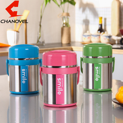 CHANOVEL 1.9L 304 Stainless Steel Lunch Box Portable Creative Vacuum Insolated School Work Soup Dinnerware sets