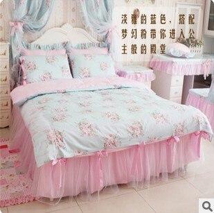 100 algod o lindo flores menina princesa rendas arco colcha roupa de cama conjunto de tampa - Colchas para sofas baratas ...