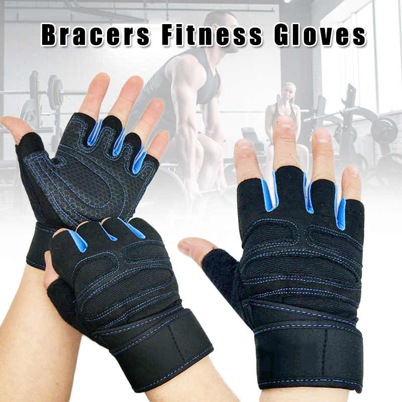 2019 Hot Sale Men Women Gym Gloves with Wrist Wrap Support for Workout Fitness Weight Lifting 19ing